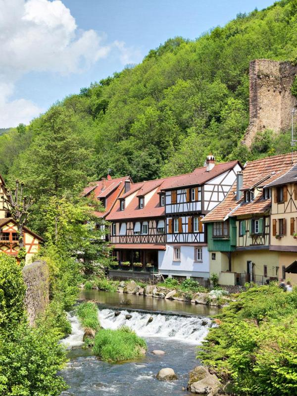 River crossing Kaysersberg, named favourite village of the French