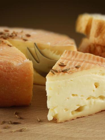 Traditional Munster cheese with cumin